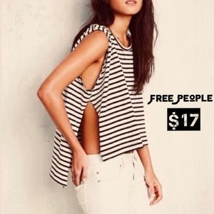 Free People Black & White Striped Top